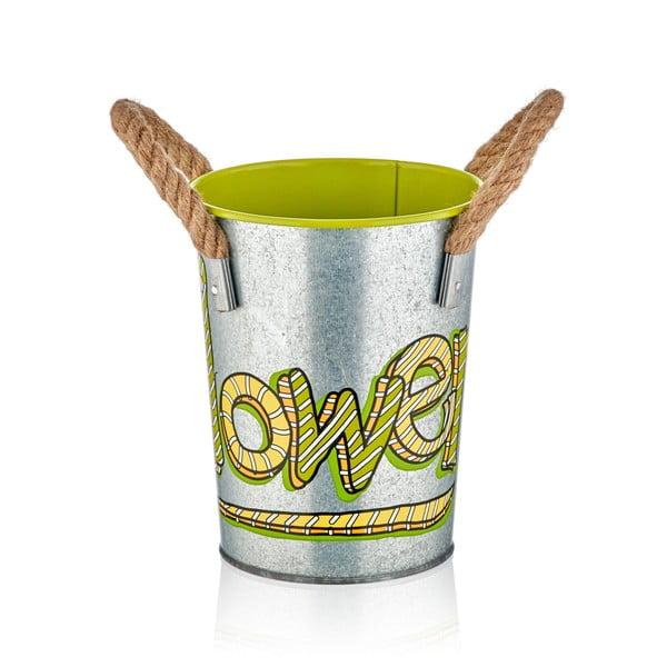 Kovová váza se zeleným detailem The Mia Fower, výška 21 cm