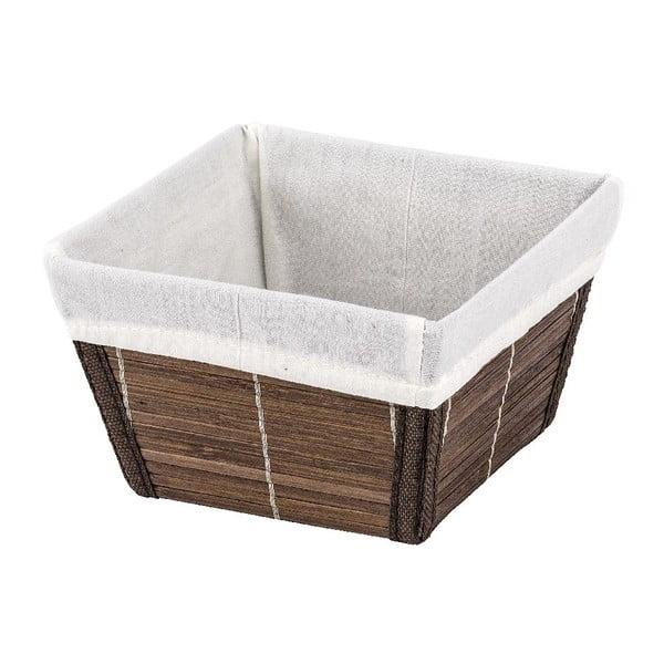 Hnědý košík Wenko Bamboo, 15x15 cm