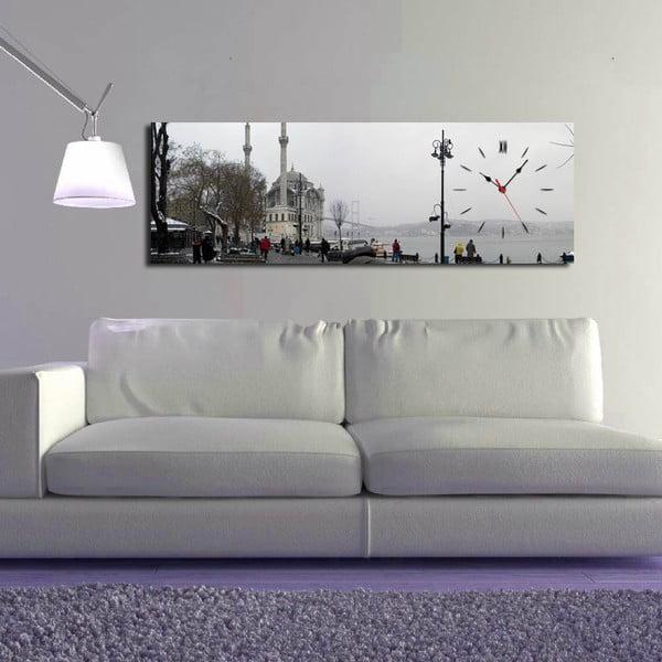 Obrazové hodiny Ve městě, 30x90 cm