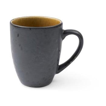 Cană cu toartă din ceramică și glazură interioară ocru Bitz Mensa, 300 ml, negru