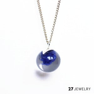 Tmavě modrý náhrdelník ze skla Enamor