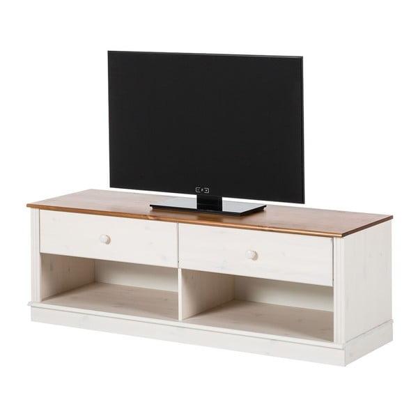 Bílá TV komoda z borovicového dřeva s hnědým detailem Støraa Annabelle