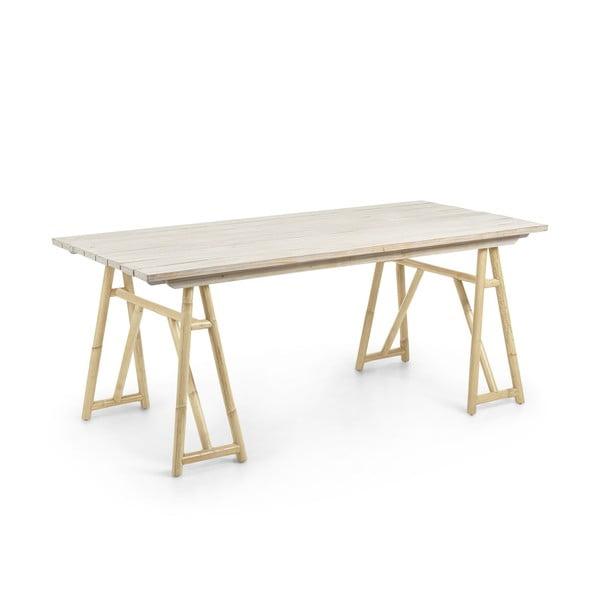 Stół z naturalnego rattanu La Forma Creassy, 180x85 cm