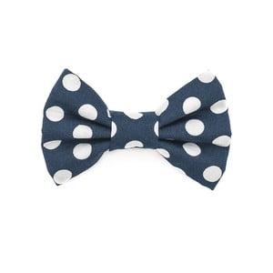 Modrý charitativní psí motýlek s velkými puntíky Funky Dog Bow Ties, vel. S