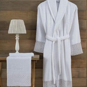 Set bílého dámského županu velikosti L/XL a ručníku Bathrobe Set Lady