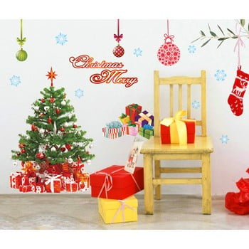Autocolante Crăciun Ambiance Santa, Balls and Tree de la Ambiance