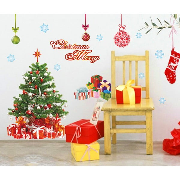 Naklejki świąteczne Ambiance Santa, Balls and Tree