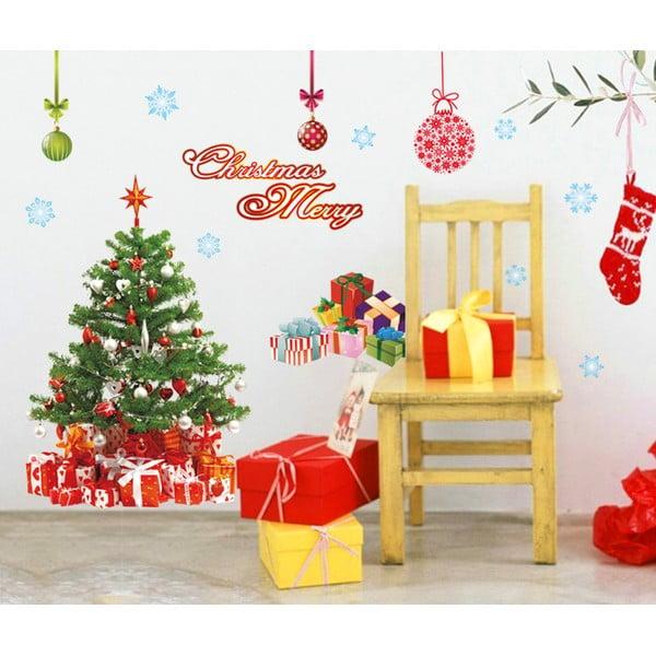 Autocolante Crăciun Ambiance Santa, Balls and Tree