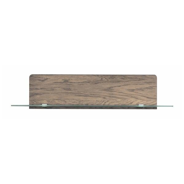 Krátká nástěnná polička v dřevěném dekoru kouřového dubu Szynaka Meble Negro