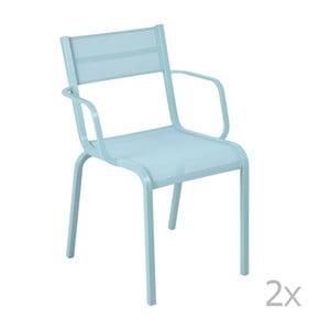 Sada 2 světle modrých kovových zahradních židlí Fermob Oléron Arms