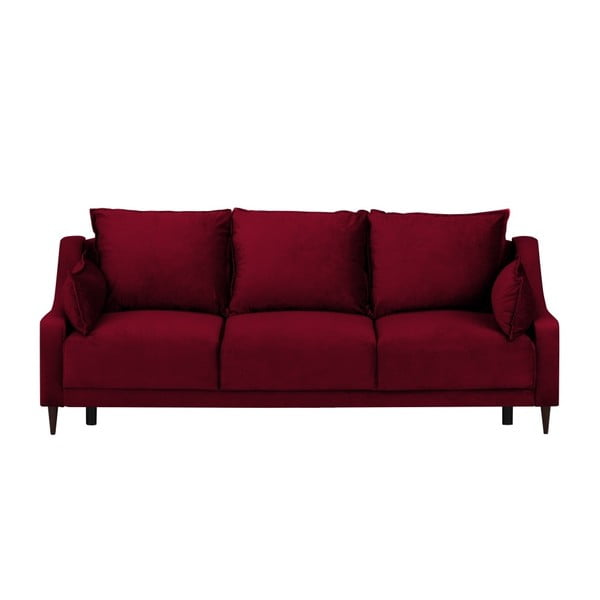Červená trojmístná rozkládací pohovka s úložným prostorem Mazzini Sofas Freesia
