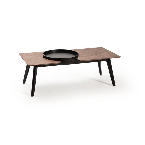 India barna dohányzóasztal fekete tölgyfa lábakkal - Marckeric
