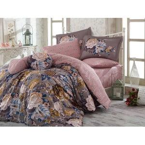 Lenjerie de pat cu cearșaf din bumbac satinat Rosanna Grey, 200 x 220 cm