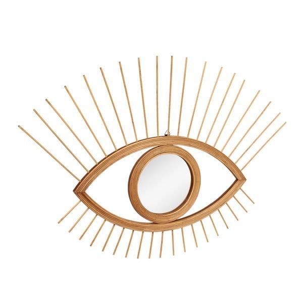 Nástěnné zrcadlo ve tvaru oka s rámem ve zlaté barvě Le Studio Rotin