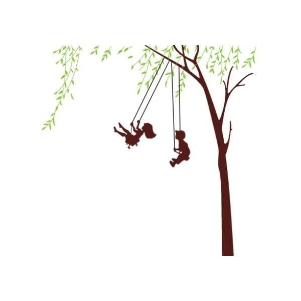 Dekorativní samolepka Děti na houpačce, 170x170 cm
