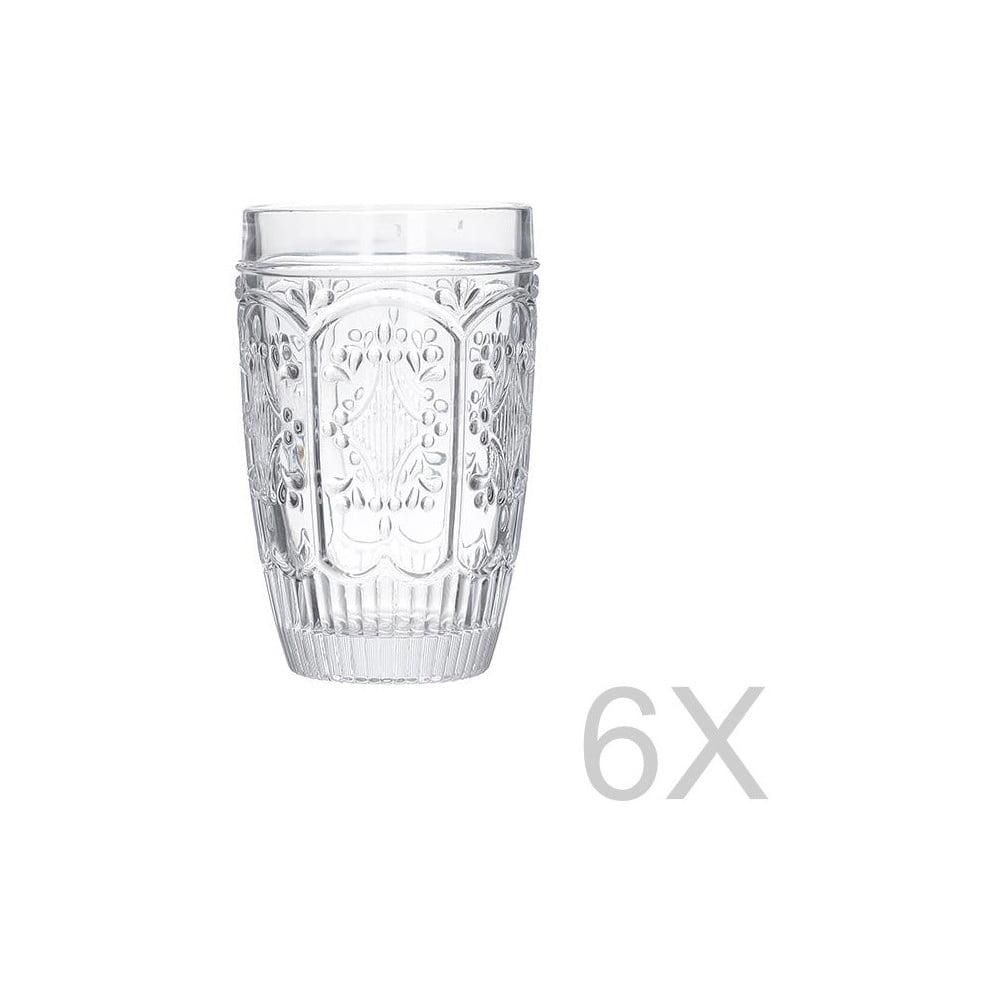 Sada 6 skleněných transparentních sklenic InArt Glamour Beverage, výška 13 cm