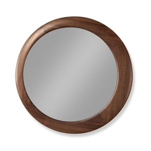 Oglindă cu ramă din lemn de nuc Wewood - Portuguese Joinery Luna, Ø 45 cm