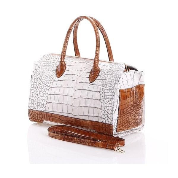 Kožená kabelka Livie, bílá/hnědá