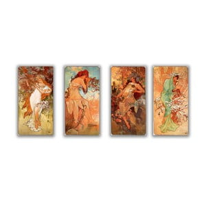 Set 4 tablouri Alfons Mucha - Four Seasons, 30x60 cm