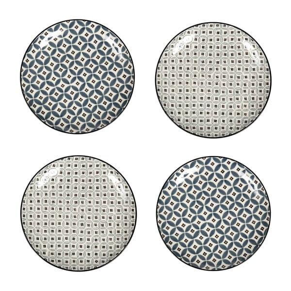 Sada 4 porcelánových talířů Old Floor, 26 cm