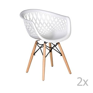 Set 2 scaune Esidra René, alb