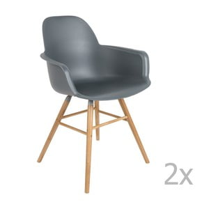Set 2 scaune cu cotieră Zuiver Albert Kuip, gri