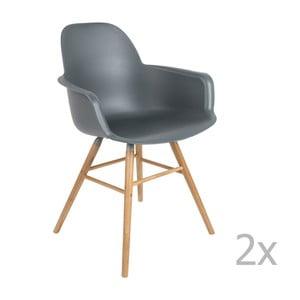 Sada 2 tmavě šedých židlí s opěrkami Zuiver Albert Kuip