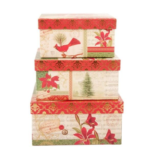 Sada 3 úložných krabic Christmas Rose