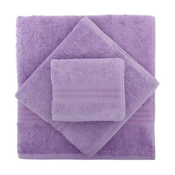 Sada 3 fialových ručníků Rainbow