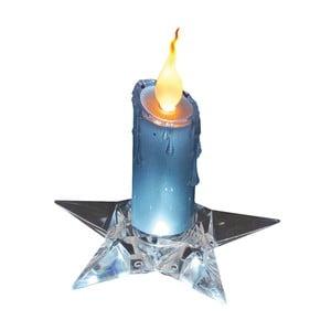 Modrá dekorativní svíčka na podstavci Naeve, výška 16 cm