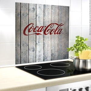 Protecție din sticlă pentru capacul aragazului Wenko Coca-Cola Wood, 70x60cm