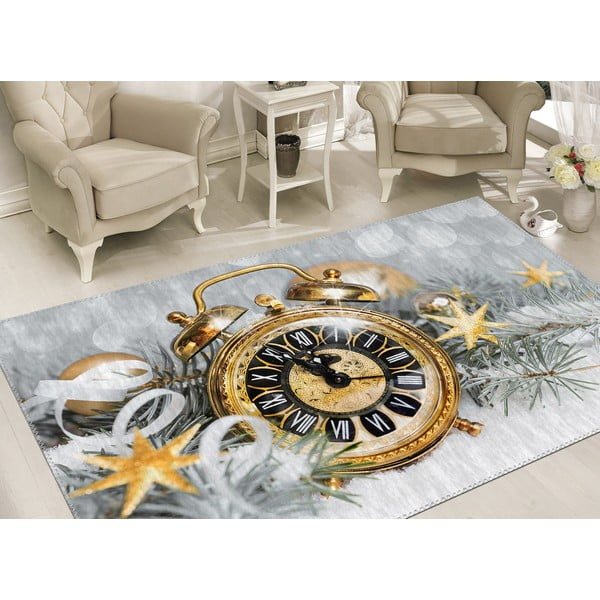 Covor Vitaus Christmas Period Golden Clock, 50 x 80 cm