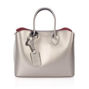 Kožená kabelka ve sříbrné barvě Giulia Massari Mineola