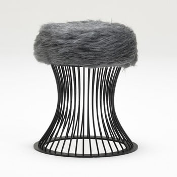Taburet cu pernă din blană artificială Balcab Home Milly, gri