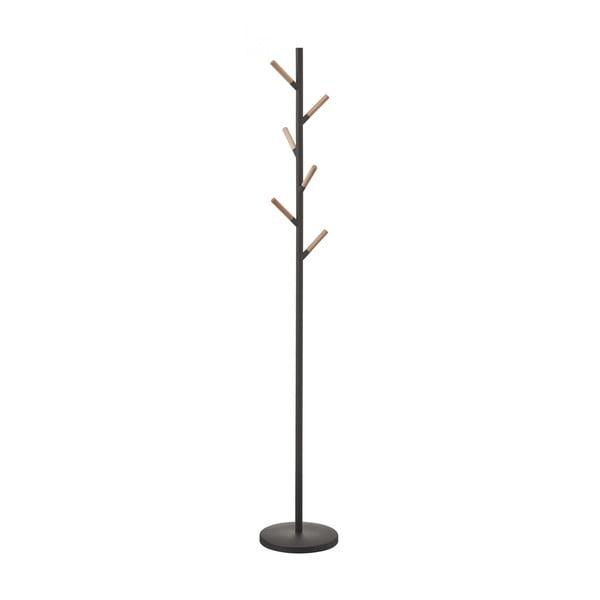 Čierny stojací vešiak s detailmi z bukového dreva YAMAZAKI Plain Pole Hanger