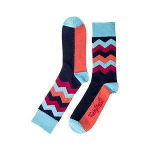 Modro-červené ponožky Funky Steps Wave, velikost 39 – 45