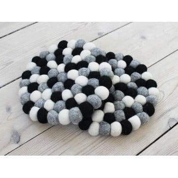 Suport pahar, cu bile din lână Wooldot Ball Coaster, ⌀ 20 cm, alb - negru imagine