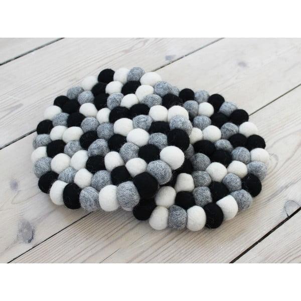 Ball Coaster fekete-fehér golyós gyapjúalátét, ⌀ 20 cm - Wooldot