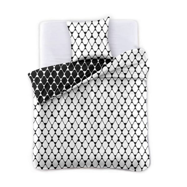 Biało-czarna dwustronna pościel dwuosobowa z mikrowłókna DecoKing Hypnosis Rhombuses, 200x200 cm