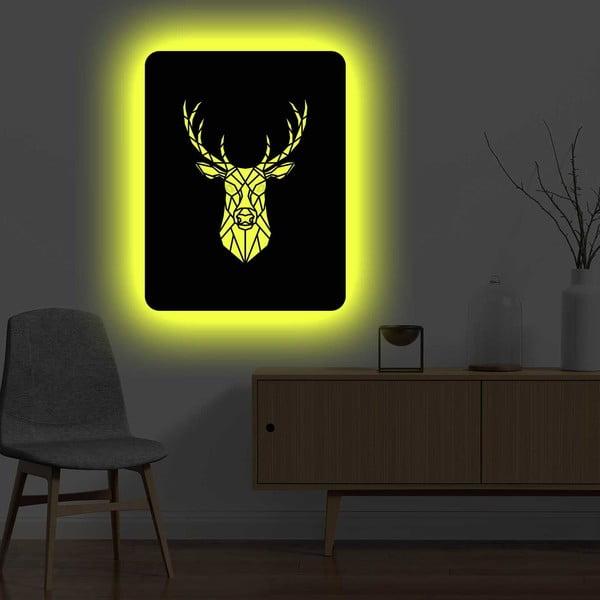 Nástěnná světelná dekorace Deer, 67 x 82 cm