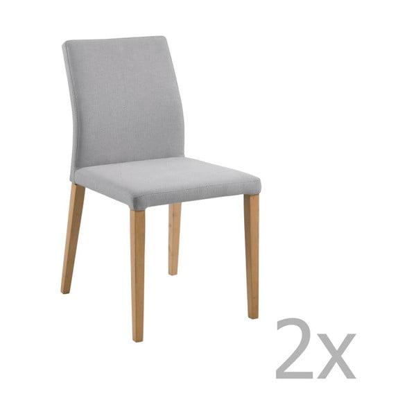 Set 2 scaune Actona Zina Dining Set, gri deschis