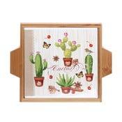 Platou din ceramică și lemn Kasanova Cactus, 22 x 19 cm