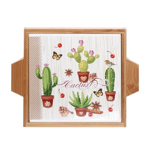 Servírovací tác z keramiky a dřeva Kasanova Cactus, 22x19cm