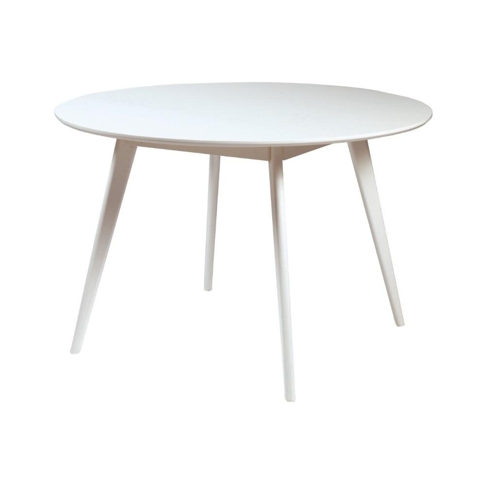 Bílý jídelní stůl s nohami z gumovníkového dřeva Rowico YuRAi , ∅ 115 cm