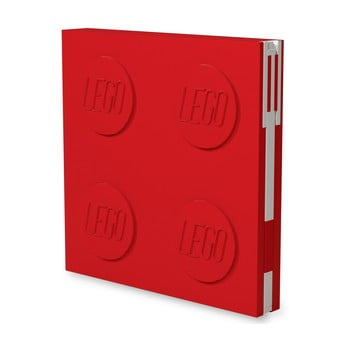 Jurnal pătrat cu pix cu gel LEGO®, 15,9 x 15,9 cm, roșu imagine