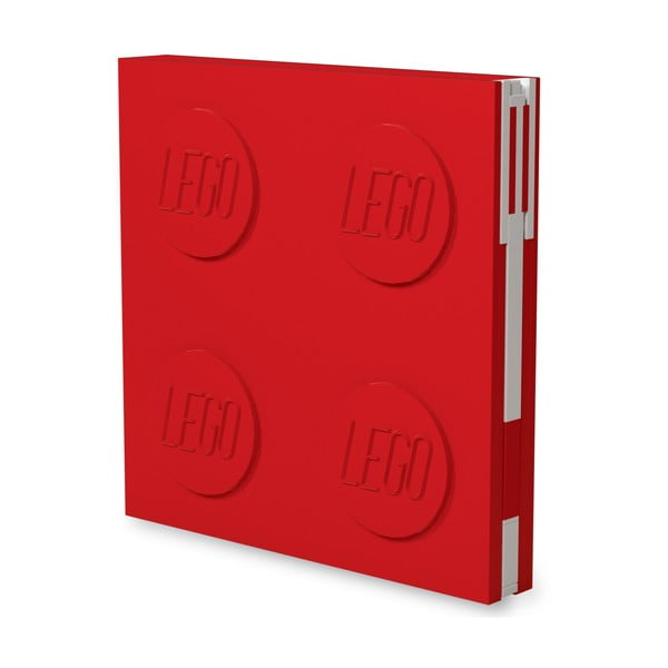 Piros négyszögletes jegyzetfüzet zselés tollal, 15,9 x 15,9 cm - LEGO®