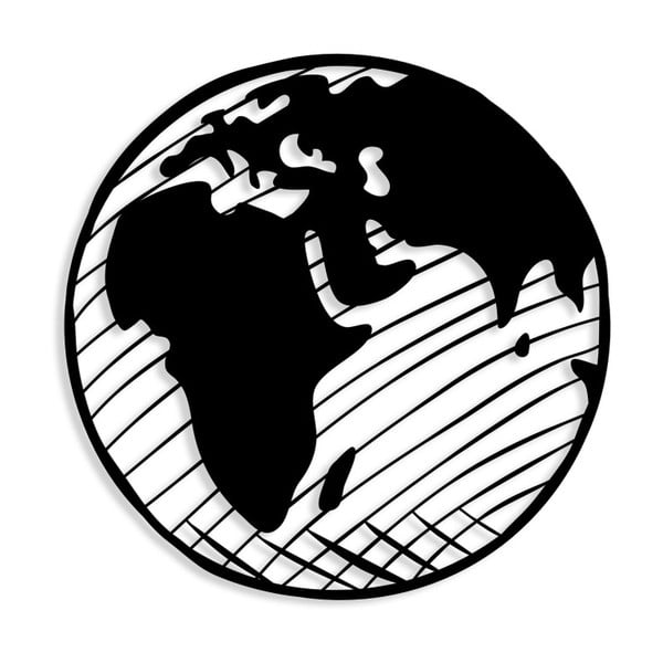 Černá kovová nástěnná dekorace Our Planet, ⌀ 55 cm