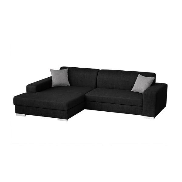 Catalani fekete kanapé bal oldali fekvőfotellel - Florenzzi