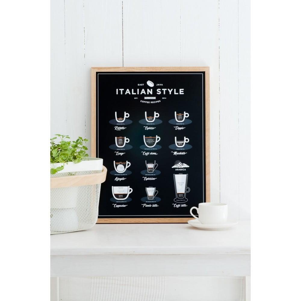 Černý plakát Follygraph Italian Style Coffee, 30x40cm