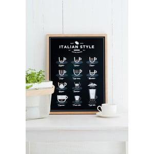 Poster Follygraph Italian Style Coffee Black, 40x50cm